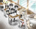 1girl black_hair blonde_hair dodging glasses highres kurusu_akira meiji_(saimyo-1212-b) persona persona_5 protagonist_(persona_5) school_uniform short_hair takamaki_ann tied_hair twintails