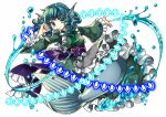 1girl absurdres blue_eyes blue_hair bubble danmaku drill_hair frills head_fins highres japanese_clothes kimono long_sleeves mermaid monster_girl obi outstretched_arm ribbon sash short_hair simple_background smile socha solo touhou wakasagihime water white_background wide_sleeves