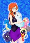 1girl bare_arms bare_shoulders breasts brown_eyes cloyster dewgong doll elite_four glasses hand_on_head kanna_(pokemon) lapras large_breasts long_hair miniskirt orange_hair plush pokemon pokemon_(creature) pokemon_(game) pokemon_frlg ponytail skirt sleeveless slowbro standing