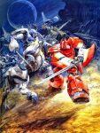 axe battle centaur galient kikou-kai_galient lance mecha official_art promaxis sword takani_yoshiyuki wingal_(mecha)
