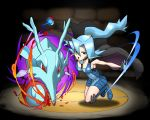 1girl black_background blue_eyes blue_hair boots breasts cape cosmo_(465lilia) cosmo_(pixiv12140406) gym_leader hair_ornament high_heels high_ponytail ibuki_(pokemon) kingdra large_breasts long_hair open_mouth poke_ball pokemon pokemon_(creature) pokemon_(game) pokemon_gsc pokemon_hgss ponytail puzzle_&_dragons sideboob