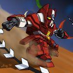 artist_request chibi dust galient kikou-kai_galient mecha no_humans planet space stars weapon