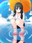 1girl absurdres amano_hina_(tenki_no_ko) black_hair blue_eyes boots highres long_hair parasol puddle rubber_boots tenki_no_ko teruterubouzu umbrella user_dsce2778