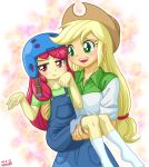 2girls apple_bloom applejack helmet multiple_girls my_little_pony my_little_pony_equestria_girls my_little_pony_friendship_is_magic personification tagme uotapo