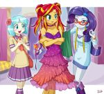 3girls blush coco_pommel dress multiple_girls my_little_pony my_little_pony_equestria_girls my_little_pony_friendship_is_magic personification rarity sunset_shimmer tagme uotapo