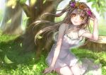1girl arm_up bare_legs bare_shoulders blurry brown_hair collarbone dappled_sunlight depth_of_field dress flower grass halterneck head_wreath leaf lips lma long_hair looking_at_viewer love_live! love_live!_school_idol_festival love_live!_school_idol_project minami_kotori off_shoulder outdoors rose sandals see-through short_dress side_ponytail sitting sleeveless sleeveless_dress solo sunlight tree tree_shade tree_stump white_dress wind yellow_eyes