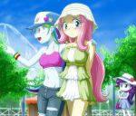 3girls blush fluttershy midriff multiple_girls my_little_pony my_little_pony_equestria_girls my_little_pony_friendship_is_magic personification rainbow_dash rarity short_skirt tagme uotapo