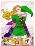 1boy 1girl alderion-al blonde_hair blue_eyes circlet comic earrings elbow_gloves floral_background gloves green_hat hat highres hug jewelry link long_hair pantyhose pointy_ears princess_zelda sheath shiny sidelocks smile the_legend_of_zelda the_legend_of_zelda:_ocarina_of_time triforce tunic white_gloves white_legwear