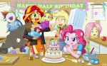 1boy 6+girls applejack baby cake cooking fluttershy kitchen laughing multiple_girls my_little_pony my_little_pony_equestria_girls my_little_pony_friendship_is_magic personification pinkie_pie pound_cake pumpkin_cake rainbow_dash rarity saliva smoke sunset_shimmer tagme tears uotapo