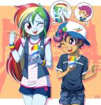 2girls ice_cream multiple_girls my_little_pony my_little_pony_equestria_girls my_little_pony_friendship_is_magic personification rainbow_dash scootaloo tagme uotapo