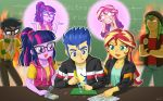 2girls 3boys circuit_board flash_sentry glasses micro_chips multiple_boys multiple_girls my_little_pony my_little_pony_equestria_girls my_little_pony_friendship_is_magic personification sandalwood soldering_iron sunset_shimmer sweat tagme tears twilight_sparkle uotapo