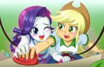 2girls applejack multiple_girls my_little_pony my_little_pony_equestria_girls my_little_pony_friendship_is_magic personification rarity rock_climbing tagme uotapo
