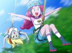 2girls derpy_hooves helmet multiple_girls my_little_pony my_little_pony_equestria_girls my_little_pony_friendship_is_magic personification pinkie_pie tagme uotapo zip_line