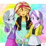 3girls blush diamond_tiara glasses hand_holding multiple_girls my_little_pony my_little_pony_equestria_girls my_little_pony_friendship_is_magic personification silver_spoon sunset_shimmer tagme uotapo