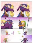 2boys 2girls ? afterimage alderion-al aqua_eyes blonde_hair cape circlet comic directional_arrow elbow_gloves floral_background gloves green_eyes highres hug link mask mask_removed multiple_boys multiple_girls pointy_ears princess_hilda princess_zelda purple_hair ravio smile speed_lines spoilers squiggle staff the_legend_of_zelda the_legend_of_zelda:_a_link_between_worlds white_gloves wrist_cuffs you're_doing_it_wrong