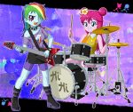 2girls drum guitar hi_hi_puffy_amiyumi multiple_girls my_little_pony my_little_pony_equestria_girls my_little_pony_friendship_is_magic personification pinkie_pie rainbow_dash tagme uotapo