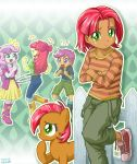 4girls apple_bloom babs_seed dual_persona hula_hoop multiple_girls my_little_pony my_little_pony_equestria_girls my_little_pony_friendship_is_magic personification scootaloo sweetie_belle tagme uotapo