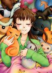 1girl boar brown_hair cat character_doll cow dog fruits_basket honda_tooru horse monkey mouse pikachu pillow rabbit ram rooster seahorse sleeping smile snake souma_ayame souma_hatori souma_hatsuharu souma_hiro souma_isuzu souma_kagura souma_kisa souma_kureno souma_kyou souma_momiji souma_ritsu souma_shigure souma_yuki stuffed_bunny stuffed_cat stuffed_cow stuffed_dog stuffed_horse stuffed_monkey stuffed_mouse stuffed_pig stuffed_sheep stuffed_snake stuffed_tiger stuffed_toy tiger
