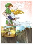 1boy 1girl :> alderion-al bangs bird blonde_hair blue_eyes blue_sky boots bracelet brown_boots brown_hair carrying cliff clouds comic dress dropping earrings english green_hat hat highres house jewelry link motion_lines pointy_ears princess_zelda sandals sky speed_lines the_legend_of_zelda the_legend_of_zelda:_skyward_sword tied_hair tree tunic twintails white_dress