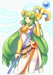1girl bare_shoulders breasts green_eyes green_hair jewelry kid_icarus kid_icarus_uprising large_breasts long_hair necklace palutena smile solo staff super_smash_bros. thigh-highs tiara very_long_hair wusagi2