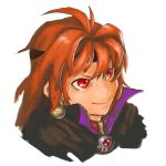 1girl artist_request cape female hairband lina_inverse orange_hair portrait red_eyes simple_background slayers smile solo sorcerer white_background