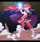1girl boots cape female full_body lina_inverse magic mizuiro21 outdoors red_eyes redhead slayers smile solo sorcerer standing white_boots