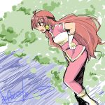 1girl artist_request female from_side hairband lina_inverse long_hair looking_away outdoors red_eyes redhead slayers solo sorcerer