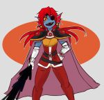 1girl cape elbow_gloves eyepatch fang female gloves lina_inverse lina_inverse_(cosplay) long_hair looking_at_viewer magic parody redhead simple_background slayers solo sorcerer standing sword undertale undyne upper_body weapon white_gloves zana