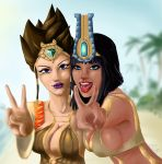 2girls beach blak_hair blue_eyes bras breasts brown_hair cleavage egypt egyptian female game goddess gold jewelry lips lipstick makeup moba multiple_girls nature neith open_mouth outdoors plant purple_lipstick red_lipstick serqet sky smile smite tattoo thick_lips upper_body violet_eyes