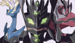 10s blue_eyes looking_at_viewer no_humans pink_background pokemon pokemon_(creature) pokemon_(game) pokemon_sm pokemon_xy simple_background symbol-shaped_pupils white_background xerneas yveltal zygarde zygarde_complete