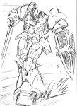 80s full_body kikou-kai_galient mecha monochrome no_humans s.shimizu shield solo sword weapon white_background zuwel