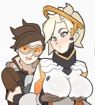 2girls bangs blonde_hair blue_eyes bodysuit bomber_jacket breast_hold breasts brown_hair goggles harness high_ponytail holding jacket large_breasts long_hair mechanical_halo mercy_(overwatch) multiple_girls overwatch ponytail short_hair spiky_hair splashbrush tracer_(overwatch)