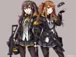 2girls armband brown_eyes brown_hair cowboy_shot fingerless_gloves flashbang girls_frontline gloves gun h&k_ump hair_ornament hairclip hand_holding heckler_&_koch highres hood hoodie jacket looking_at_viewer multiple_girls ndtwofives pleated_skirt scar scar_across_eye siblings side_ponytail sisters skirt smile submachine_gun twintails ump45_(girls_frontline) ump9_(girls_frontline) weapon