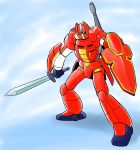 artist_request galient kikou-kai_galient mecha no_humans parody shield style_parody sword weapon