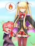 2girls arc_system_works artist_request blonde_hair blush bow breasts cape child dress fire hair_bobbles hair_ornament hair_over_eyes hair_over_one_eye hair_ribbon kuon_gramred_shutleheim long_hair me_(xblaze) multiple_girls open_mouth pink_hair ribbon shiny shiny_clothes shiny_hair shocked side_ponytail sidelocks smile spoken_fire surprised sweatdrop thigh-highs thought_bubble twintails xblaze xblaze_code:_embryo yellow_eyes younger