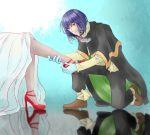 1boy 1girl artist_request character_request high_heels kneeling leg_grab legs priest reflection sitting slayers tagme xelloss