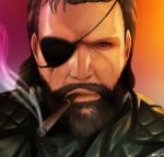 1boy beard born-to-die cigar eyepatch looking_at_viewer male_focus metal_gear_(series) metal_gear_solid shiny shiny_skin smoking solo upper_body