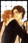 black_eyes black_hair blush brown_eyes brown_hair couple jewelry necktie original seifuku short_hair yaoi