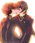 black_hair blush brown_hair code_geass couple hug kiss kururugi_suzaku lelouch_lamperouge seifuku short_hair tongue violet_eyes yaoi