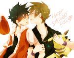 2boys birthday black_hair blush brown_hair green_eyes hat heart jewelry kiss multiple_boys ookido_green pikachu pokemon red red_(pokemon) red_eyes short_hair surprised sweatdrop yaoi
