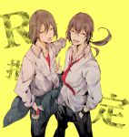 brown_hair durarara!! genderswap glasses long_hair orihara_kururi orihara_mairu red_eyes seifuku short_hair tongue twins