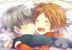 bed blush brown_hair child couple flower grey_hair hanamura_yousuke hug narukami_yuu persona persona_4 seta_souji short_hair sleeping yaoi