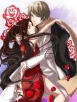 axis_powers_hetalia blue_eyes brown_eyes brown_hair china chinese_dress crossdressing flower hug jacket long_hair russia scarf smile suit trap weapon yaoi