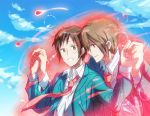 black_hair blush brown_hair couple hand_holding happy koizumi_itsuki kyon necktie red_eyes seifuku short_hair sky smile the_melancholy_of_haruhi_suzumiya yaoi