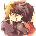 2boys green_(pokemon) multiple_boys pokemon red_(pokemon) tagme yaoi