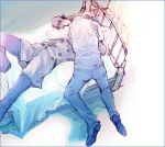 aragaki_shinjirou bed couple grey_hair hug jacket kiss pants persona persona_3 sanada_akihiko seifuku short_hair yaoi