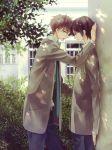 black_hair brown_hair code_geass couple grey_eyes kururugi_suzaku lelouch_lamperouge necktie pants seifuku short_hair yaoi