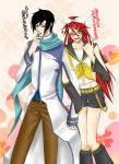 black_hair crossover glasses green_eyes grell_sutcliffe hairpins heart jacket kuroshitsuji long_hair nail_polish pants red_eyes redhead ribbon scarf sebastian_michaelis seifuku short_hair shorts smile tongue vocaloid wink yaoi