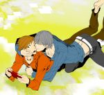 barefoot brown_eyes brown_hair couple gaming grey_hair hanamura_yousuke hug narukami_yuu pants persona persona_4 seta_souji short_hair smile yaoi