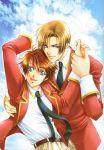 ahoge blue_eyes brown_hair couple endo_kazuki gakuen_heaven hand_holding happy ito_keita necktie official_art seifuku short_hair sky smile yaoi yuu_higuri
